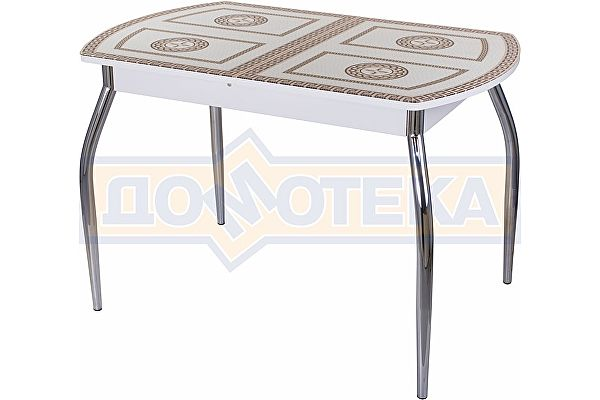 Обеденный стол со стеклом Домотека Танго ПО-1 БЛ ст-71 01 ,белый