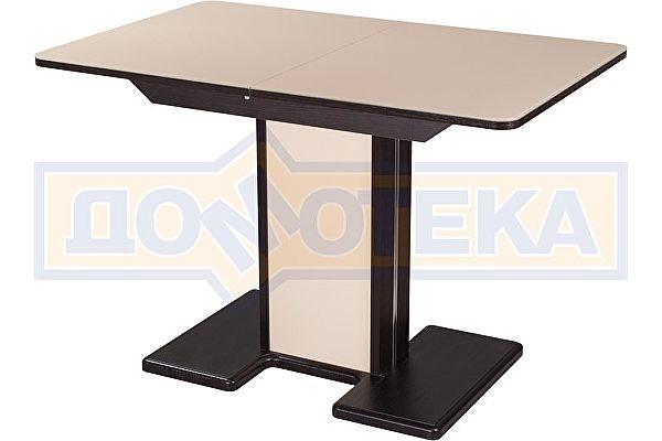 Обеденный стол со стеклом Домотека Танго ПР-1 ВН ст-КР 05-1 ВН/КР  ,венге