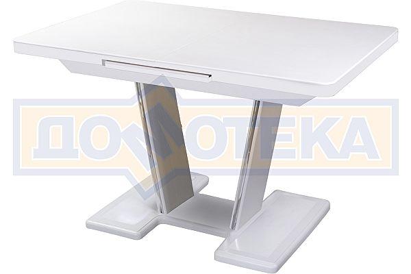 Обеденный стол с камнем Домотека Реал ПР-1 КМ 04 БЛ 03-1 БЛ, белый/камень белого цвета