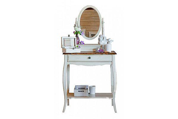 Столик макияжный с овальным зеркалом Belveder Blanc bonbon, ST9321