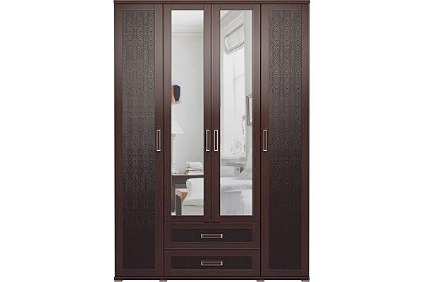 Шкаф Ижмебель Аргентина 4х дверный с ящиками и зеркалами, мод.1