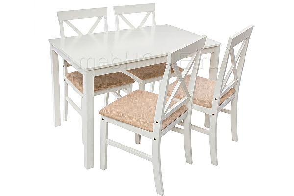 Обеденная группа Woodville Chili (стол и 4 стула) buttermilk / beige