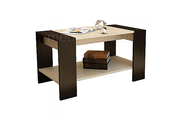 Маленький журнальный столик Woodville Квадро венге / дуб