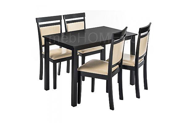 Обеденная группа Woodville Modis (стол и 4 стула) cappuccino / cream