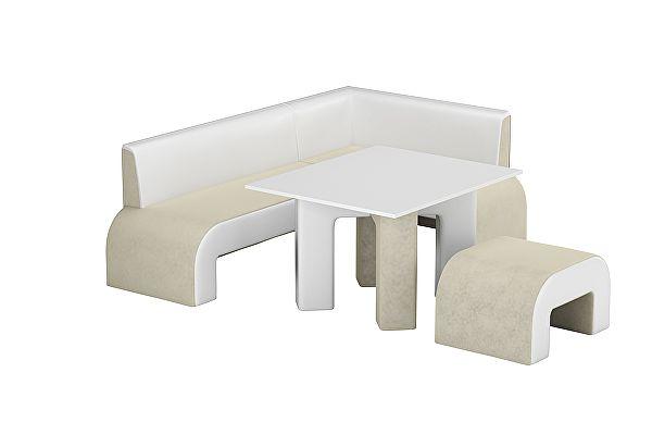 Кухонный уголок Мебелико Кармен микровельвет бежевый/эко кожа белый