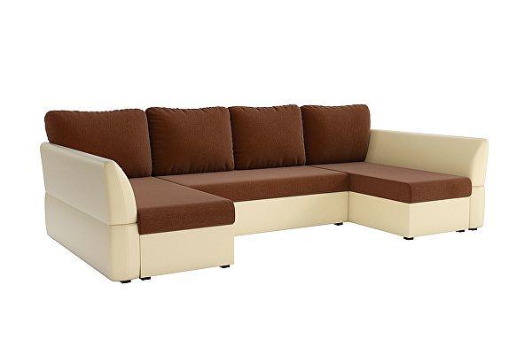 П-образный диван Мебелико Гесен рогожка коричневый/ эко кожа бежевый