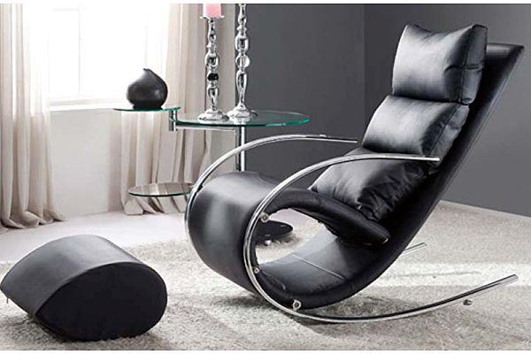 Кресло-качалка c пуфом МИК S001 MK-5503-BL Черный