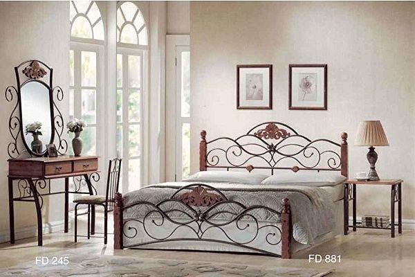 Кровать кованая односпальная МИК FD 881 MK-1913-RO Темная вишня 200х120