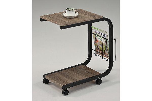 Приставной столик на колесиках МИК MK-2391 Дуб/черный