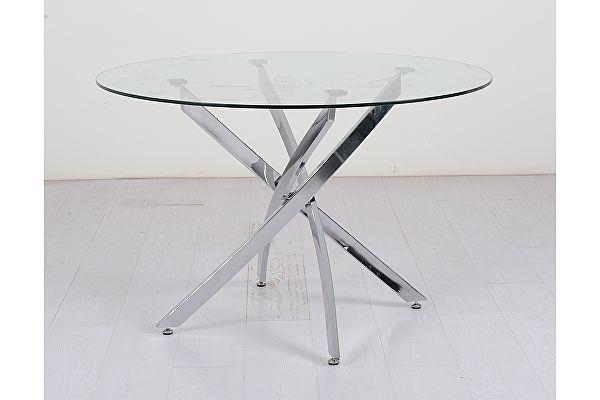 Стеклянный стол обеденный МИК Мебель MK-6913-GL Прозрачный/Хром