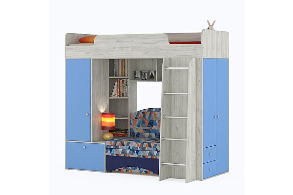 Кровать-чердак Mobi Тетрис 1 МС 366 с диваном, цвет дуб белый/капри/ткань Арт. 02