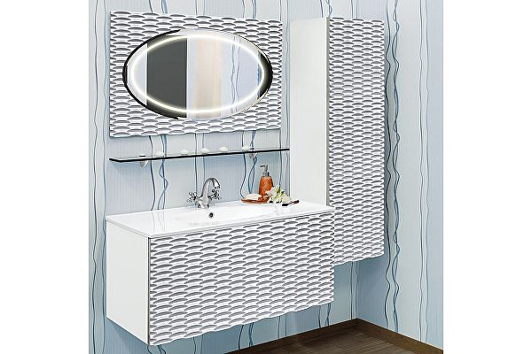 Мебель для ванной Sanflor Белла 100 белая, патина серебро