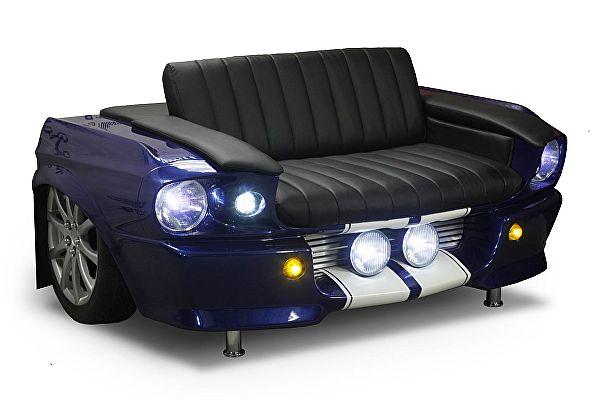 Диван Rolling Stol Ford Mustang (1967 г) цвет синий металлик, с подсветкой