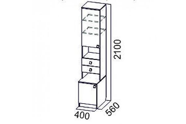 Пенал SV-мебель Гамма-15 открытый