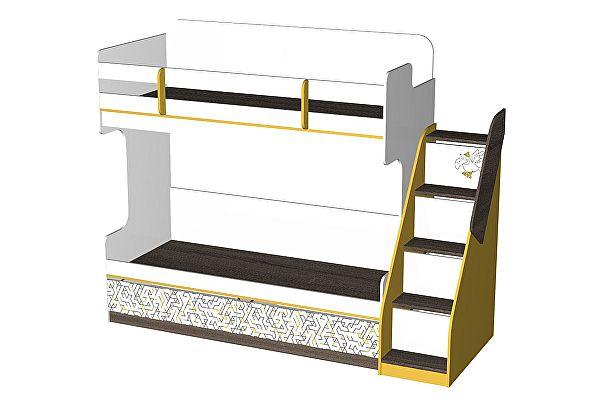 Кровать двухъярусная с лестницей комодом ЭТО мебель