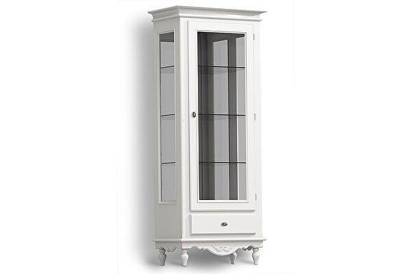 Витрина Снежный Прованс со стеклом 1-дверная LN52