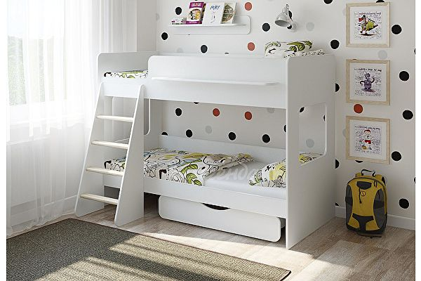 Кровать двухъярусная Легенда 25.2 белый