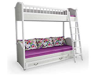 Купить кровать 38 попугаев Классика 2х ярусная с лесенкой и ящиком