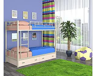 Купить кровать 4 Сезона Ницца (ящики - дуб молочный) двухъярусная
