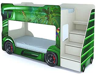 Купить кровать ВиВера машинка двухъярусная Автобус с матрасами