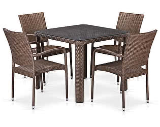 Купить обеденную группу Афина-мебель T341B/Y376-W773-90x90 4Pcs Brown