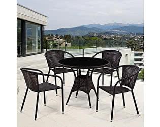 Купить обеденную группу Афина-мебель T197ANS-W53/Y137B-W51 Brown 4Pcs