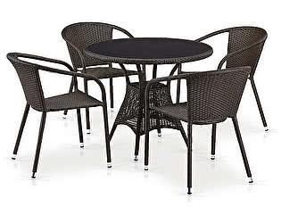 Купить обеденную группу Афина-мебель T197ANS-W53/Y137C-W53 Brown 4Pcs