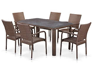Купить обеденную группу Афина-мебель T51A/Y376-W773-150x85 6Pcs Brown