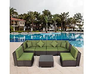 Купить комплект садовой мебели Афина-мебель Плетеный модульный YR822BG Brown/Green