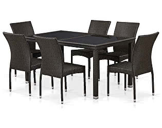 Купить обеденную группу Афина-мебель T246A/Y380A-W53 Brown 6Pcs
