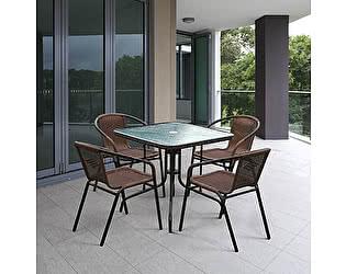 Купить обеденную группу Афина-мебель Николь-2A TLH-037AR2/080SR-80х80 Cappuccino (4+1)