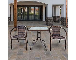 Купить обеденную группу Афина-мебель Асоль-2B TLH-037B/073B-60х60 Brown (2+1)