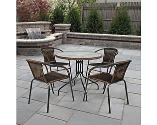 Купить обеденную группу Афина-мебель Николь-1B TLH-037B/080RR-D80 Brown 4Pcs