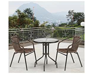 Купить обеденную группу Афина-мебель Асоль-1D CDC01/TLH060-D60 Brown (2+1)