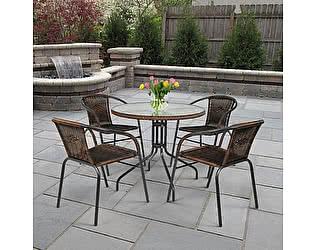 Купить обеденную группу Афина-мебель Николь-1A TLH-037AR2/080RR-D80 Cappuccino (4+1)