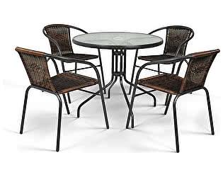 Купить обеденную группу Афина-мебель Николь-1CB CDC01/087-D80 Brown 4Pcs