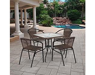 Купить обеденную группу Афина-мебель Асоль-3 TLH-037BR3/070SR-70х70 R-05 Brown (4+1