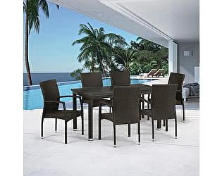 Купить обеденную группу Афина-мебель T256A/Y379A-W53 Brown 6Pcs
