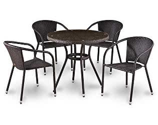 Купить обеденную группу Афина-мебель T283ANT/Y137B-W51 Brown 4Pcs
