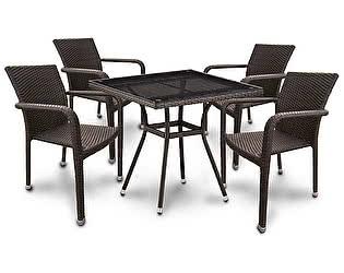 Купить обеденную группу Афина-мебель T283BNT-W2390/Y2001B-W53 Brown 4Pcs