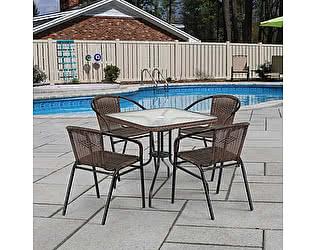 Купить обеденную группу Афина-мебель Асоль-3 TLH-037AR2/070SR-70х70 R-05 Cappuccino (4+1)