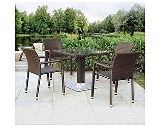 Купить обеденную группу Афина-мебель T606SWT/A2001B-W53 Brown 4Pcs