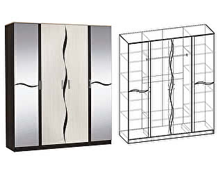 Купить шкаф Мебель Маркет Гардония 4х створчатый