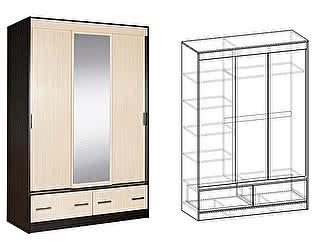 Купить шкаф Мебель Маркет Светлана купе 3-х створчатый с ящиками 1500 с 1 зеркалом
