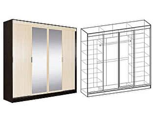 Купить шкаф Мебель Маркет Светлана купе 4-х створчатый  с 2 зеркалами (Венге/Дуб молочный)
