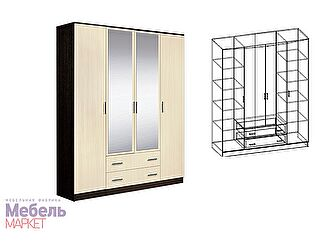 Купить шкаф Мебель Маркет Светлана 4-х створчатый комбинированный с зеркалами