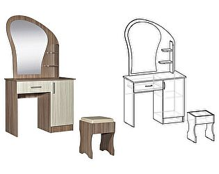 Купить стол Мебель Маркет Светлана макияжный с банкеткой и ящиком