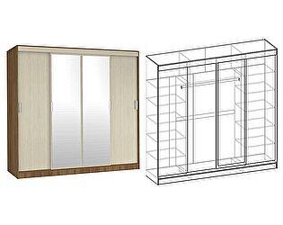 Купить шкаф Мебель Маркет Светлана купе 4-х створчатый с 2 зеркалами