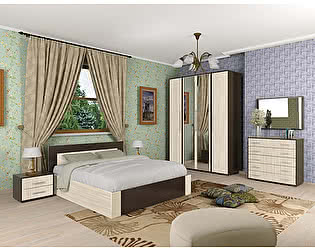Купить спальню Мебель Маркет Берта Комплект 3 (Венге/Ясень Шимо светлый)