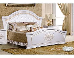 Купить кровать КМК Графиня с ножным щитом КМК 0379.10 (Белый металлик+золото)
